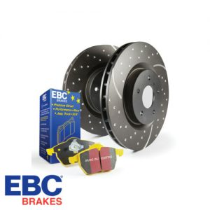 """EBC Brakes YellowStuff Brake Pads - High friction super-street or track pad - Better initial bite - Better fade resistance at disc temps up to 700°C EBC YellowStuff 1793 compound is a true winner all round, it has high friction from cold, not requiring warm up for street use yet when loaded up and really hot the brakes just get better. Even up to truck weights these pads grip and do not heat fade. They are also the fastest brake pads for trackday & Drift racing. EBC YellowStuff are ECE Brake safety tested which means they must work perfectly from cold at least as good or better than stock pads. EBC Brakes GD Series Slotted And Dimpled Sport Discs - Wide aperture grooves - Thermic black coated for maximum corrosion resistance - Special disc alloys UNIQUE to EBC - Dimple hole construction - Balanced geometry EBC's GD Series Discs feature a unique wide """"high volume"""" slot design that runs to the outside edge of the disc allowing the dust, debris, gasses and carbon deposits to be """"spun off"""" from the braking disc surface, further improving braking. The blind holes prevent cracking and help to break down surface gasses of the brake disc/rotor to further improve braking under heavy load. Made in Europe and machined using a high quality alloy designed to run up to 800/900 degrees centigrade (glowing red hot) and still run true and stay straight. For light race, rally and track day use. Together with V4 Greenstuff, Redstuff Ceramic or Yellowstuff, which helps to reduce disc temperatures, you will be hard pressed to find a better standard size disc/pad combo for your car. GD Series Discs are available for many Japanese, European & US cars. The EBC GD Series Discs represents a high performance brake disc with good """"behind wheel"""" looks, at an affordable price range. Recent European R90 brake safety legislation insists on a very aggressive stress test of all replacement brake rotors. EBC rotors have passed this test and in the case of the GD design, the brakes were shown to run 1"""